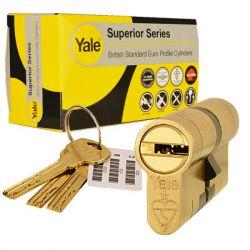 Yale Superior Euro Cylinder 40 40 Brass Polished