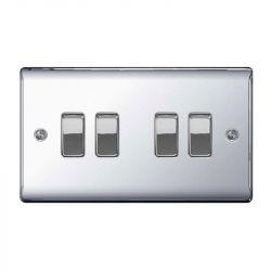 Polished Chrome  LS04 Screw Plate 4 Gang Light Switch