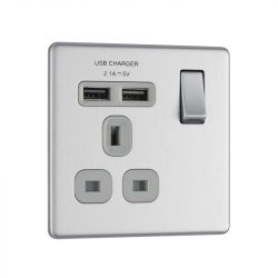 Brushed Chrome PS07 Screwless Plate 1 Gang USB Plug Socket