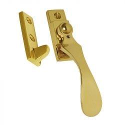 W95 Locking Brass Window Latch Polished Brass