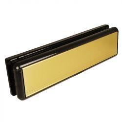 Gold matt upvc letterbox with black surround