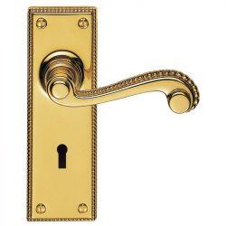 Z601 Georgian Scroll Lever Lock Solid Brass Door Handle Polished Brass
