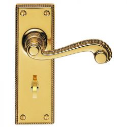 Z602 Georgian Scroll Solid Brass Bathroom Door Handle Polished Brass