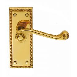 Z607 Georgian Squared Lever Latch Solid Brass Door Handle Polished Brass