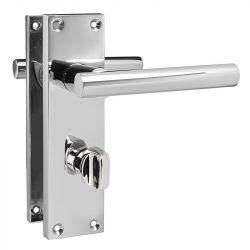 Z742 T-Bar Lever Backplate Bathroom Door Handle, Polished chrome