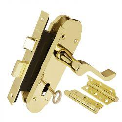 Z76 Epsom Locking Door Handle Set with Hinges & Latch, polished brass.