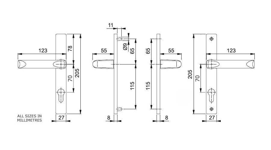 Diagram Image for D01 Hoppe London - 70PZ - 180mm Centres
