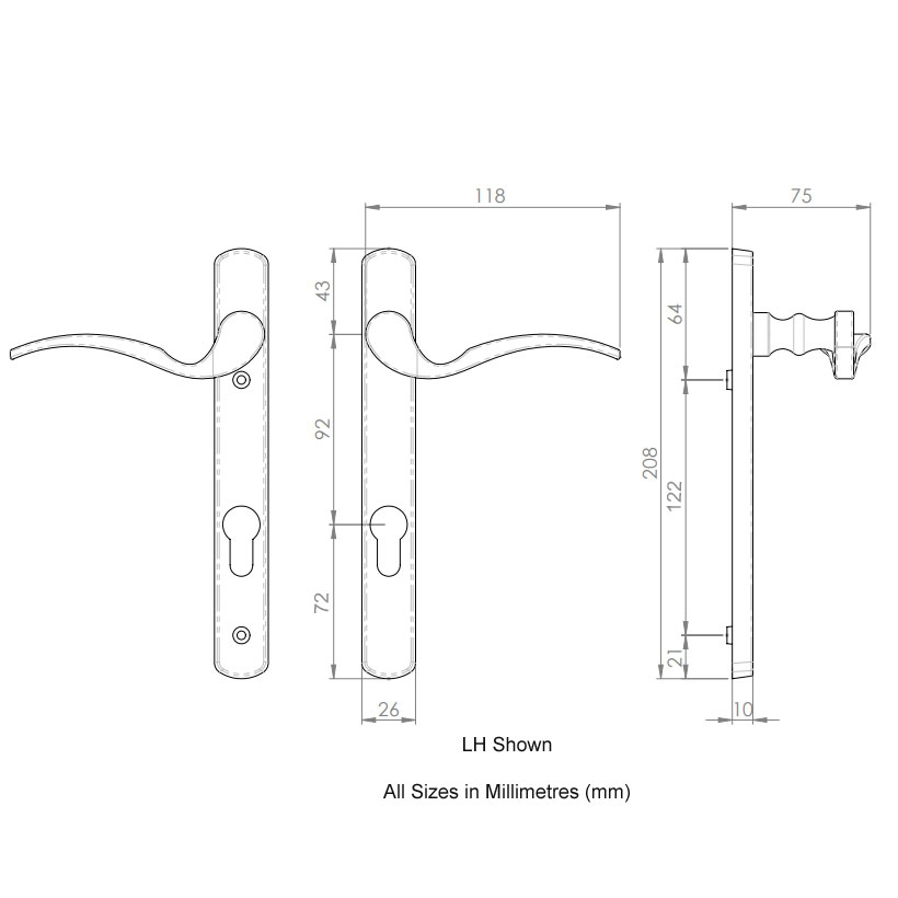 Diagram Image for D11 Scrolled Swan - 92PZ - 122mm Centres