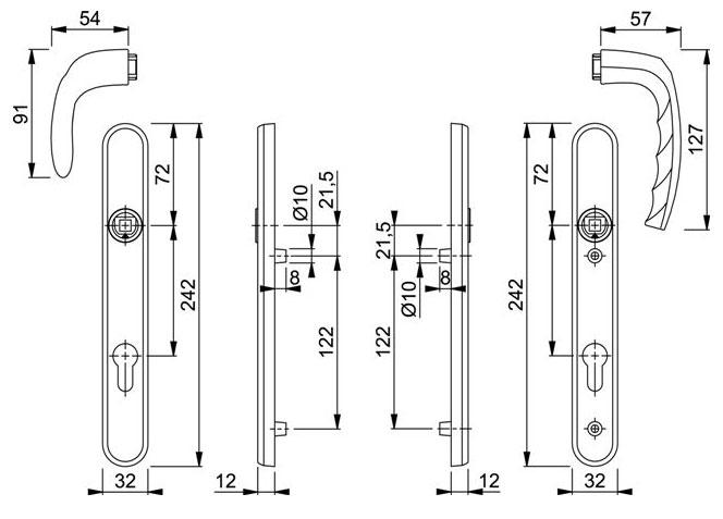Diagram Image for D162 Hoppe Atlanta 92PZ Pad uPVC Door Handle