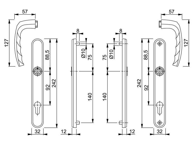 Diagram Image for D269 Hoppe Atlanta - 92PZ - 215mm Centres