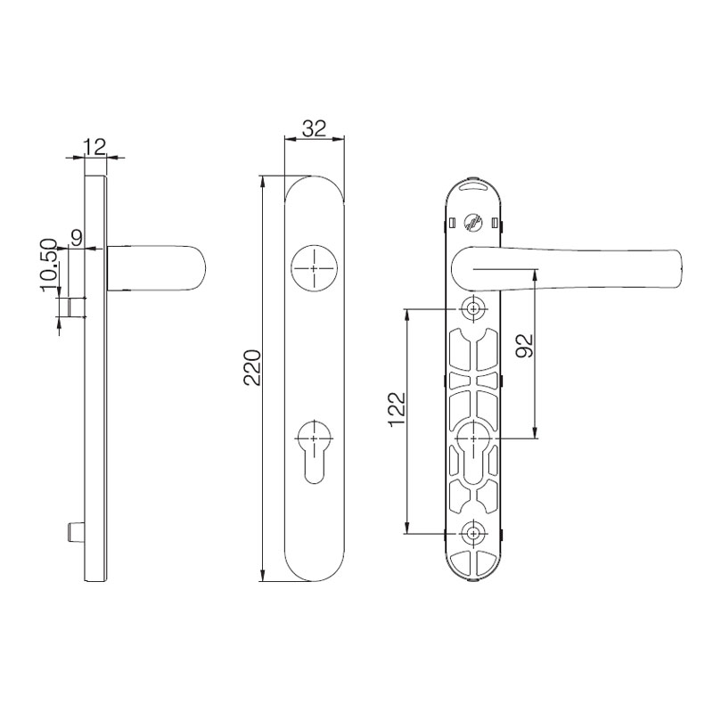 Diagram Image for D271 Stainless Steel - 92PZ - 122mm Centres