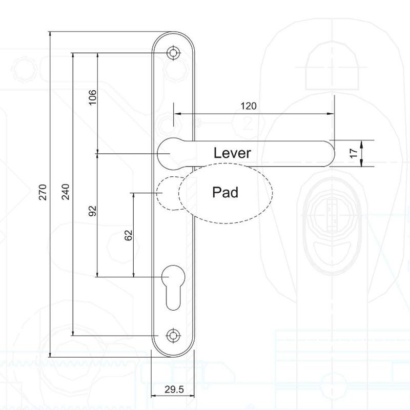 Diagram Image for D277 - Offset Pad uPVC Door Handles - 240mm