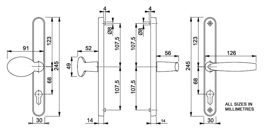Diagram Image for D29 Hoppe Brugge 68PZ Pad uPVC Door Handle