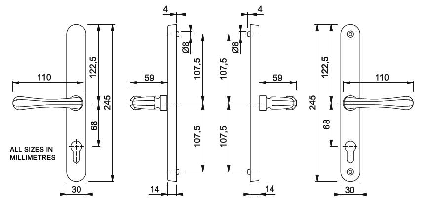 Diagram Image for D31 Fullex Valencia - 68PZ - 215mm Centres