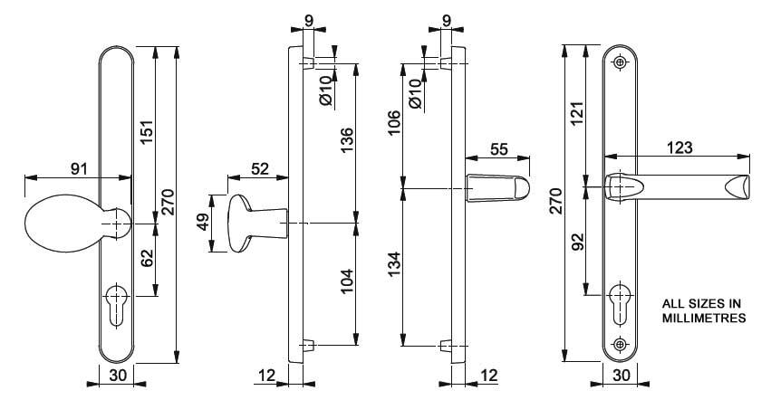 Diagram Image for D40 Hoppe London 92/62PZ Offset Pad uPVC Door Handle