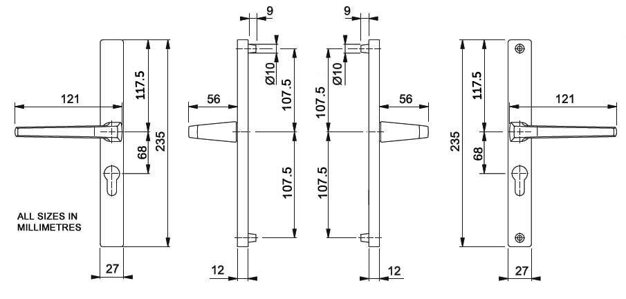 Diagram Image for D53 Hoppe London - 68PZ - 215mm Centres