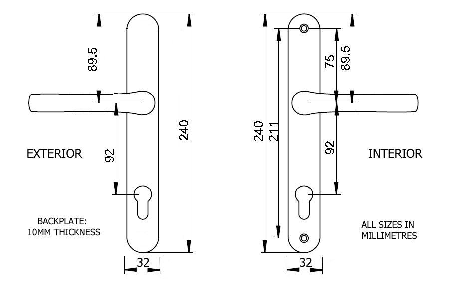 Diagram Image for D63 Mila Prolinea - 92PZ - 211mm Centres