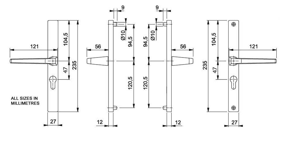 Diagram Image for D68 Aluminium - 47PZ - 215mm Centres