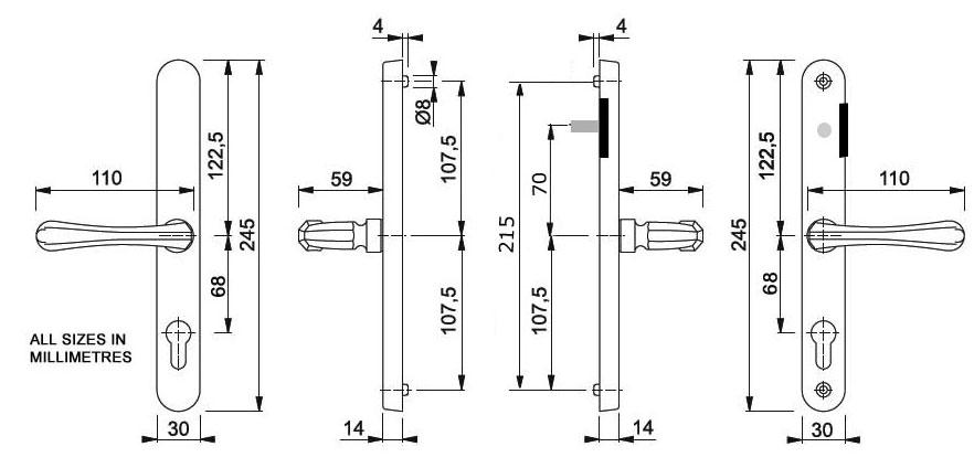 Diagram Image for D75 Valencia Snib 68PZ Lever uPVC Door Handle