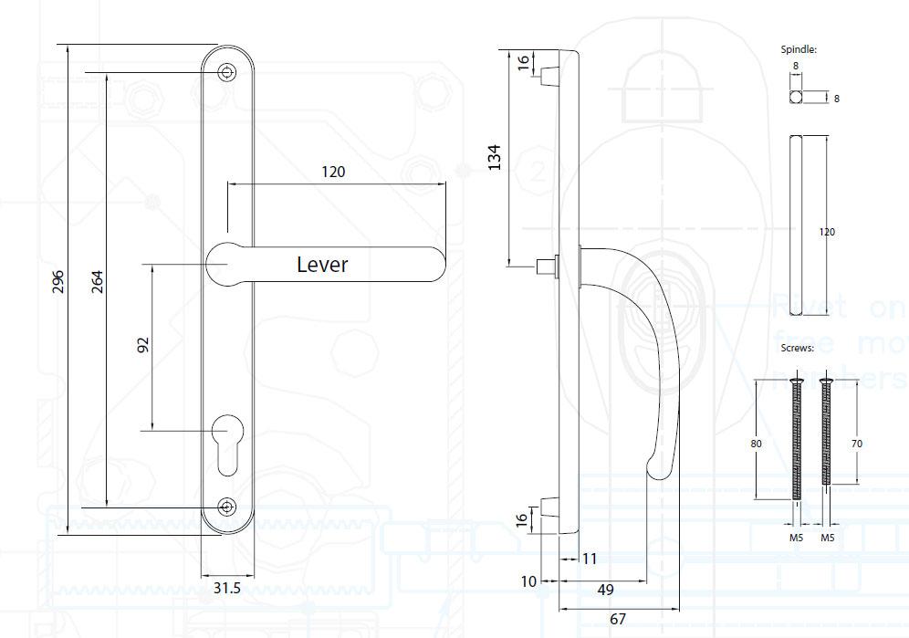 Diagram Image for D81 Universal - 92PZ - 264mm Centres