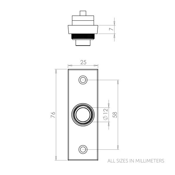 Diagram Image for DB06 Rectangular Bell Push