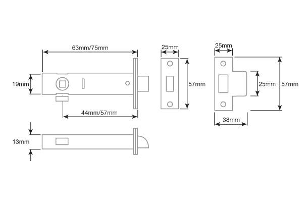 Diagram Image for DL01 Tubular Door Latch