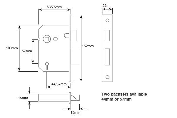 Diagram Image for DL03 Mortice Sashlock 3 Lever