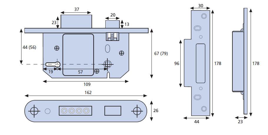 Diagram Image for DL14 Era Fortress 5 Lever Mortice Sashlock