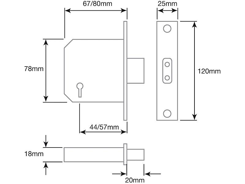Diagram Image for DL15 Mortice Deadlock 5 Lever