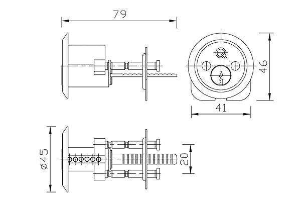 Diagram Image for DL20 Rim Cylinder