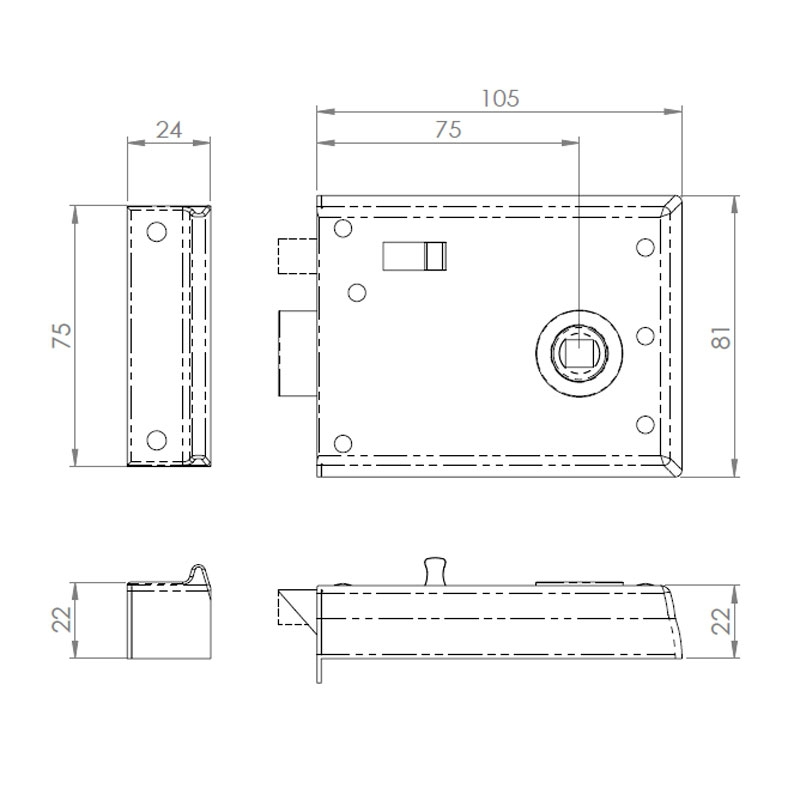 Diagram Image for DL28 Rim Latch