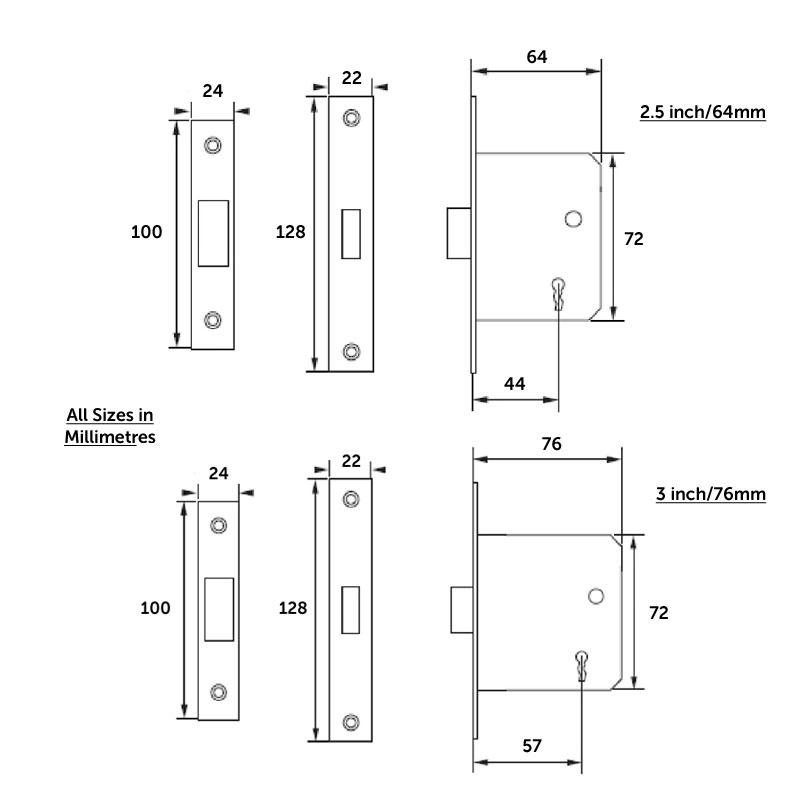 Diagram Image for DL33 Mortice Deadlock 3 Lever