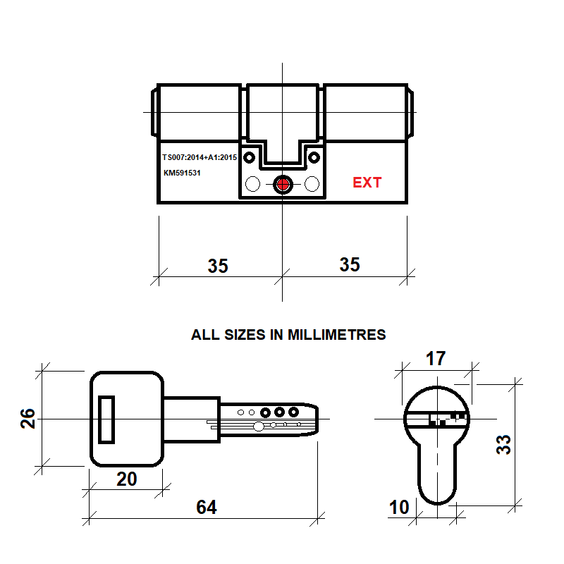 Diagram Image for DL40 Orion 3 Star TS007 Anti Snap Lock 35/35(AS)