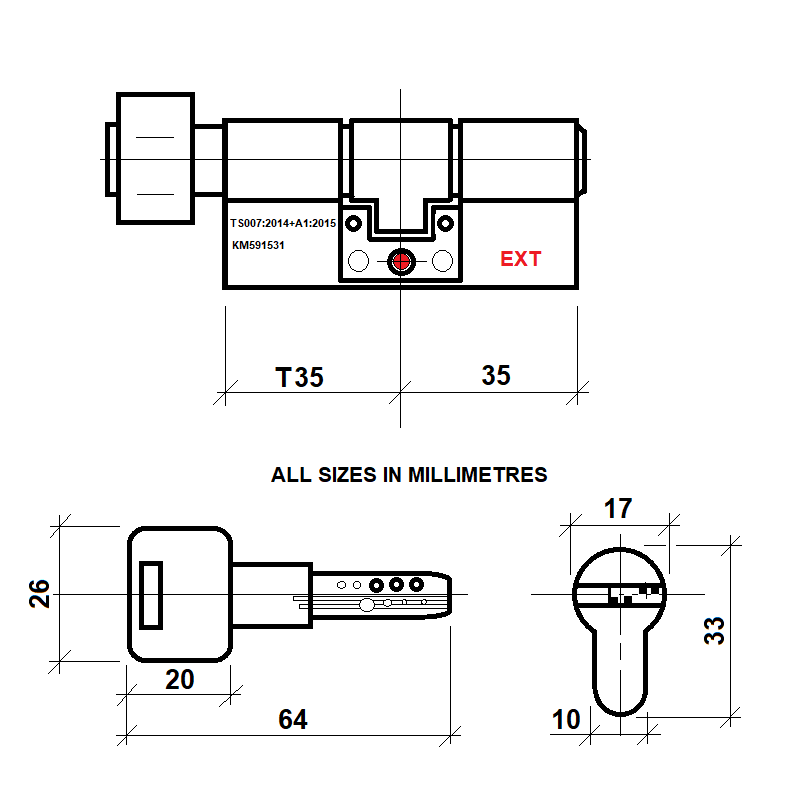 Diagram Image for DL41 Orion 3 Star TS007 Anti Snap Thumbturn Lock T35/35(AS)