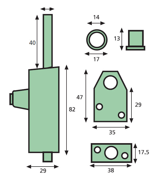 Diagram Image for Era Door Bolt