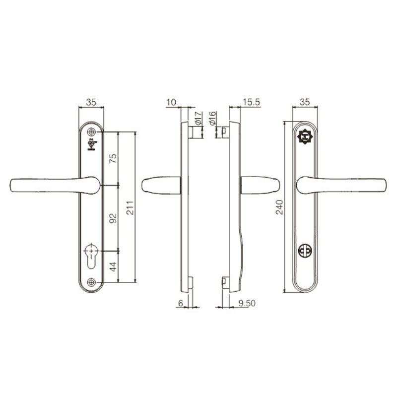 Diagram Image for DS163 Mila Prosecure Security - 92PZ - 211mm Centres