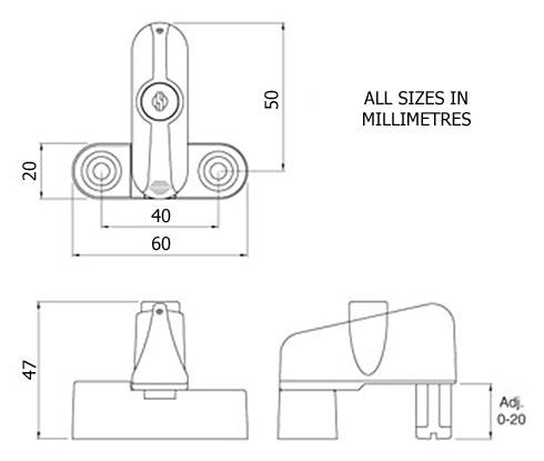 Diagram Image for WL07 - Frame Guard Locking Window & Door Jammer