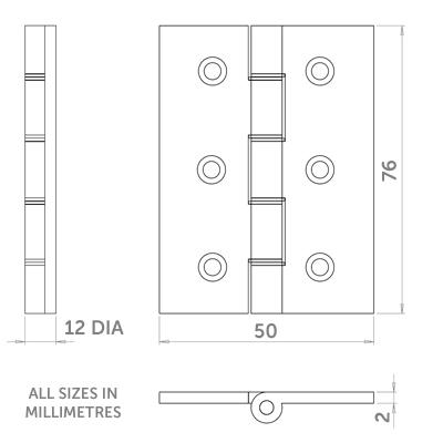Diagram Image for H12 Grade 7 Door Hinge