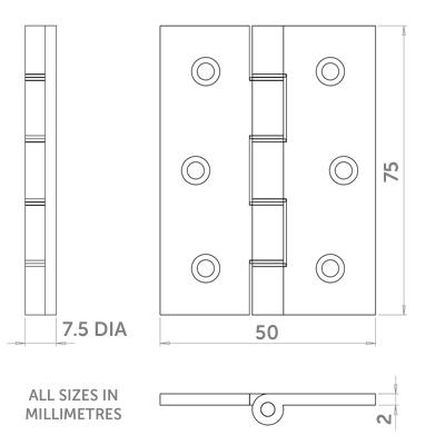 Diagram Image for H14 Internal Door Hinge