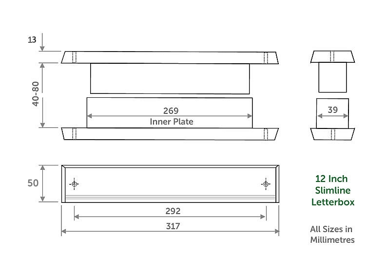 Diagram Image for LB23 - 12 inch Narrow Letterbox