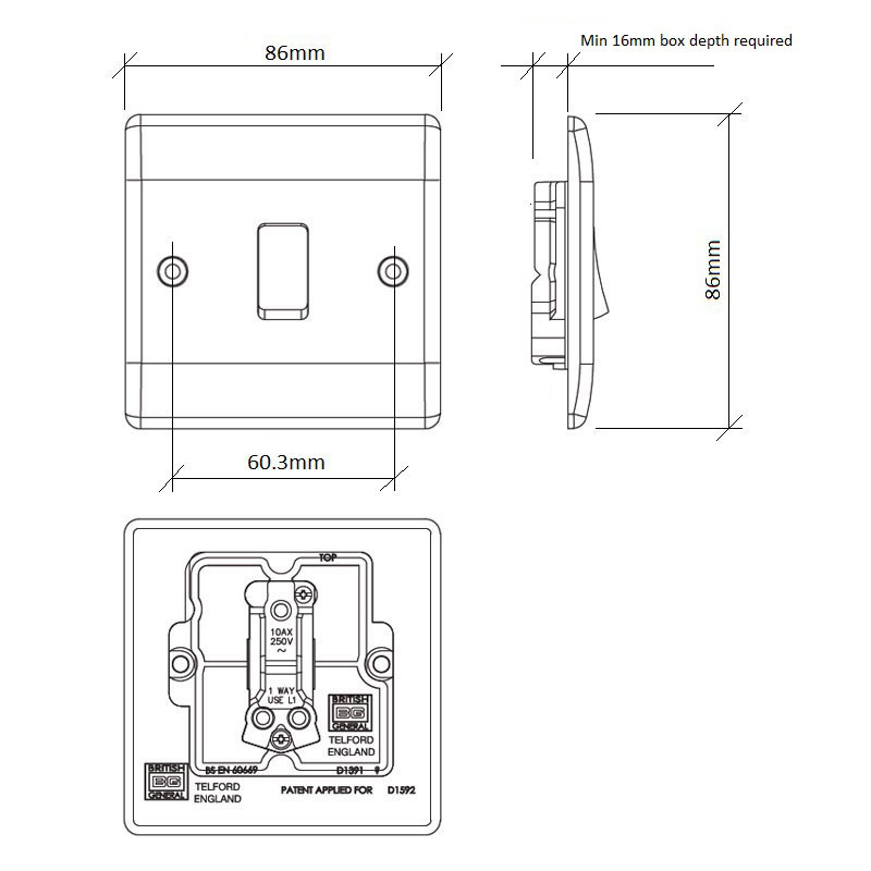 Diagram Image for LS01 Screw Plate 1 Gang Light Switch