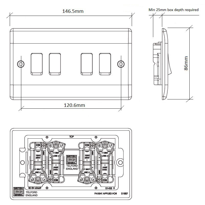 Diagram Image for LS04 Screw Plate 4 Gang Light Switch