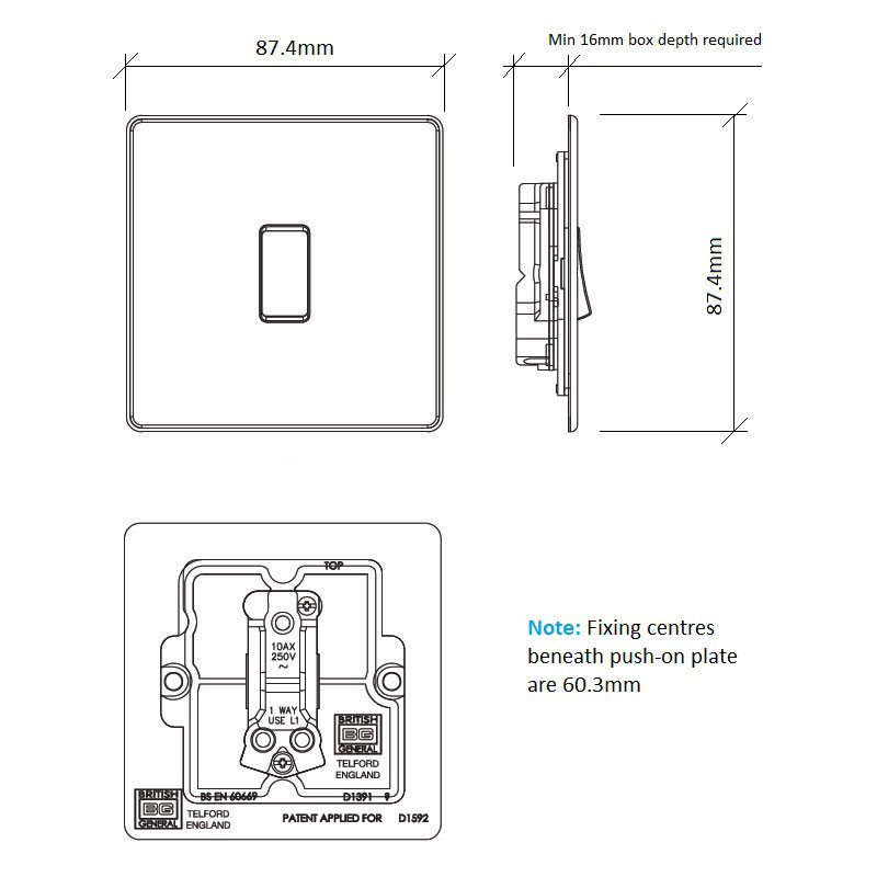Diagram Image for LS05 Screwless Plate 1 Gang Light Switch