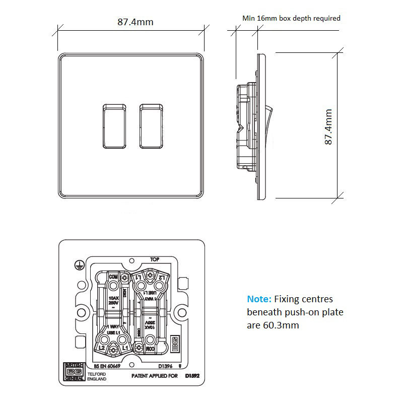 Diagram Image for LS06 Screwless Plate 2 Gang Light Switch