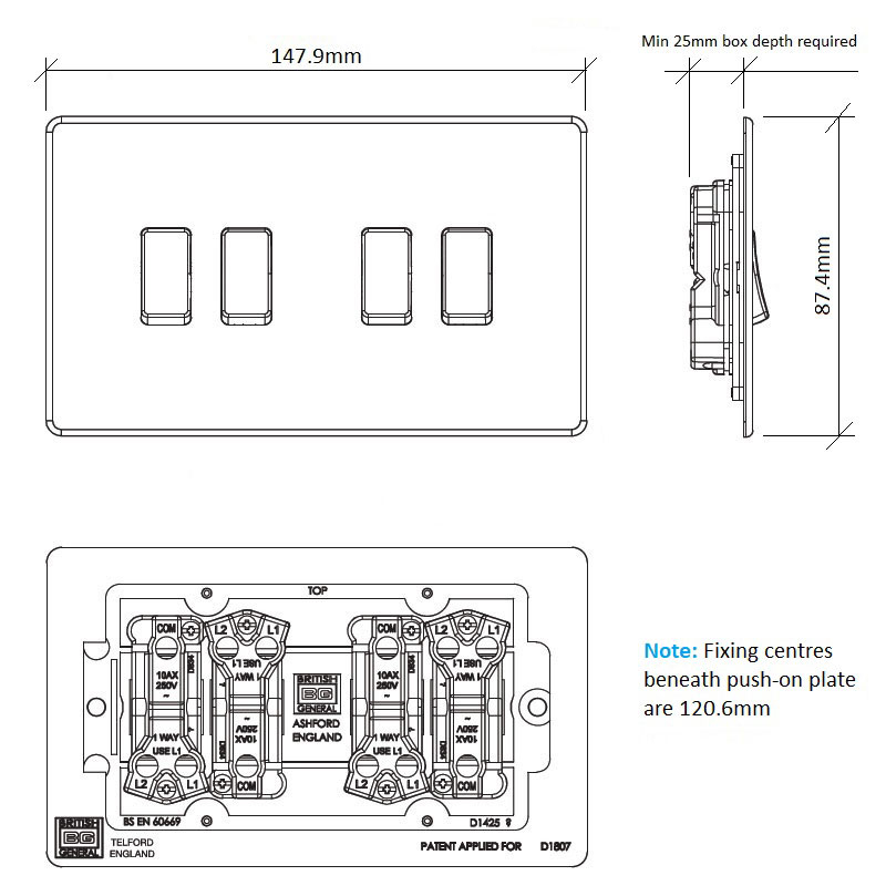 Diagram Image for LS08 Screwless Plate 4 Gang Light Switch