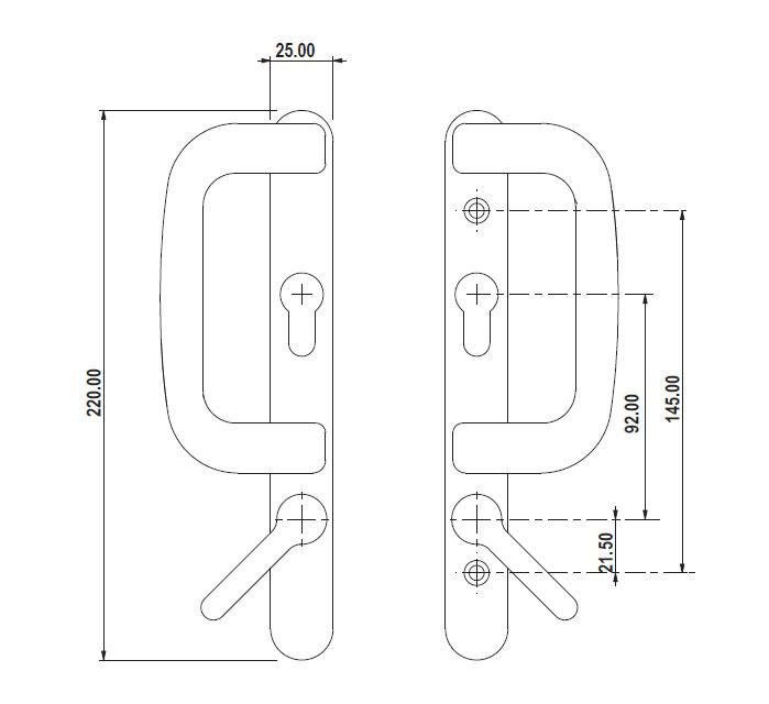 Diagram Image for P07 Patio Door Lock Handle