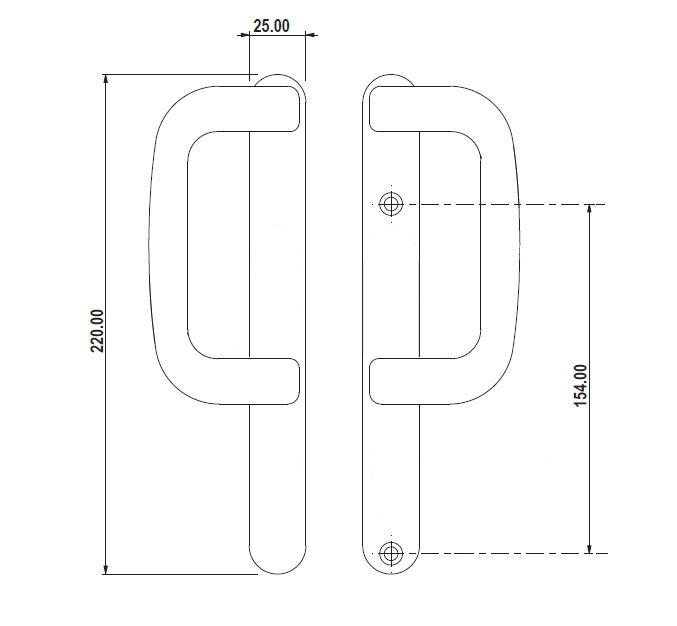 Diagram Image for P22 Non Locking Patio Handle