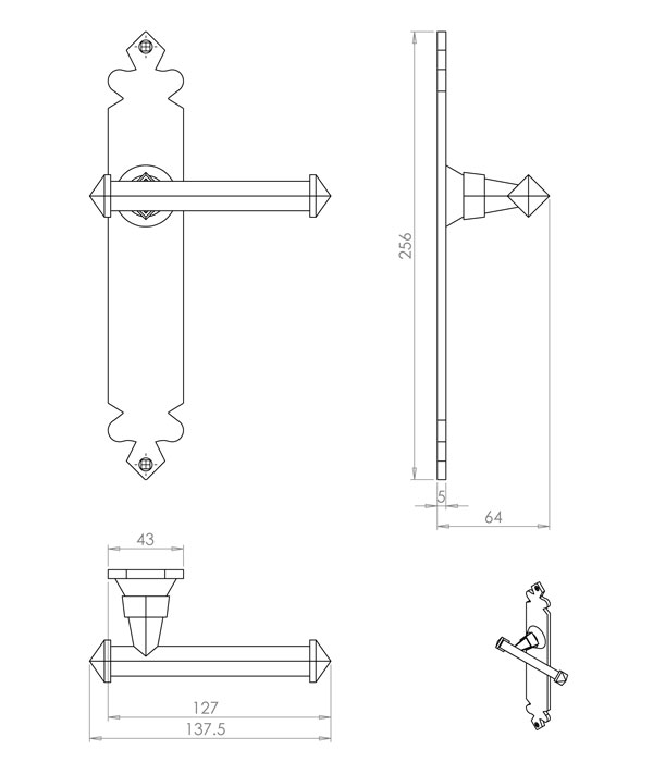 Diagram Image for PD01 Lever Latch Door Handle