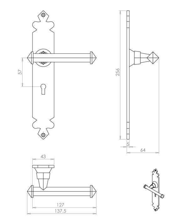 Diagram Image for PD02 Lever Lock Door Handle