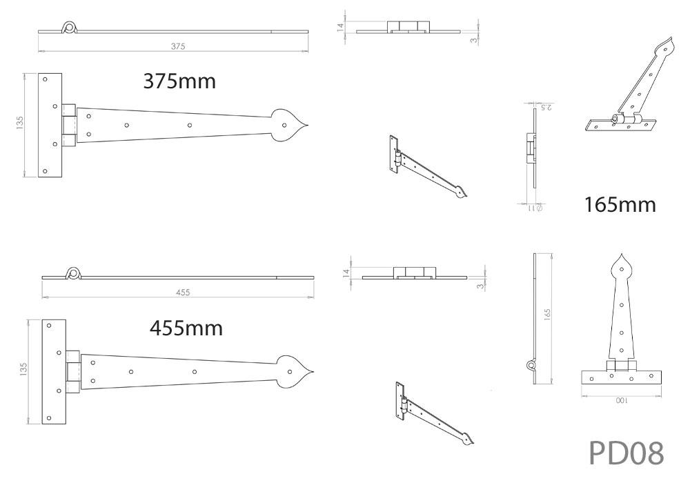 Diagram Image for PD08 Door Hinge